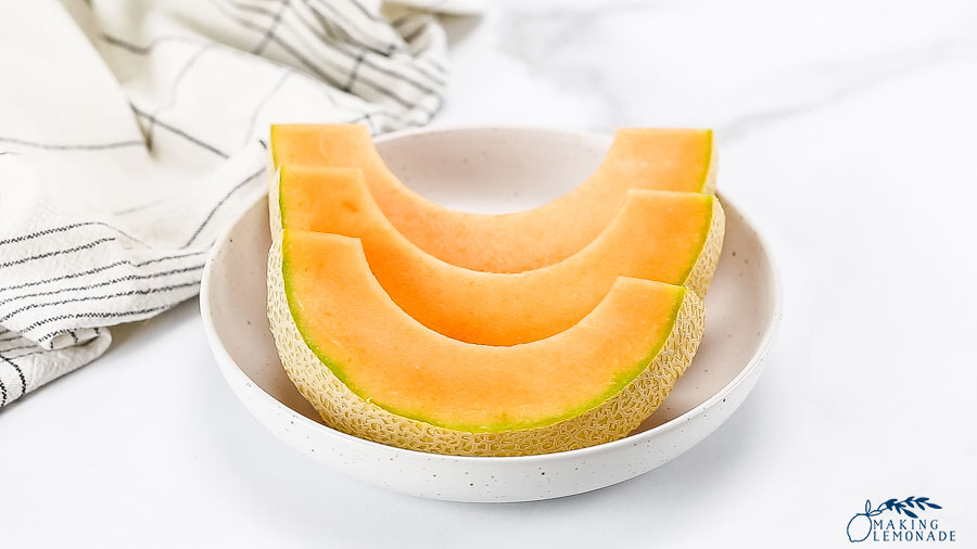 sliced melon on counter