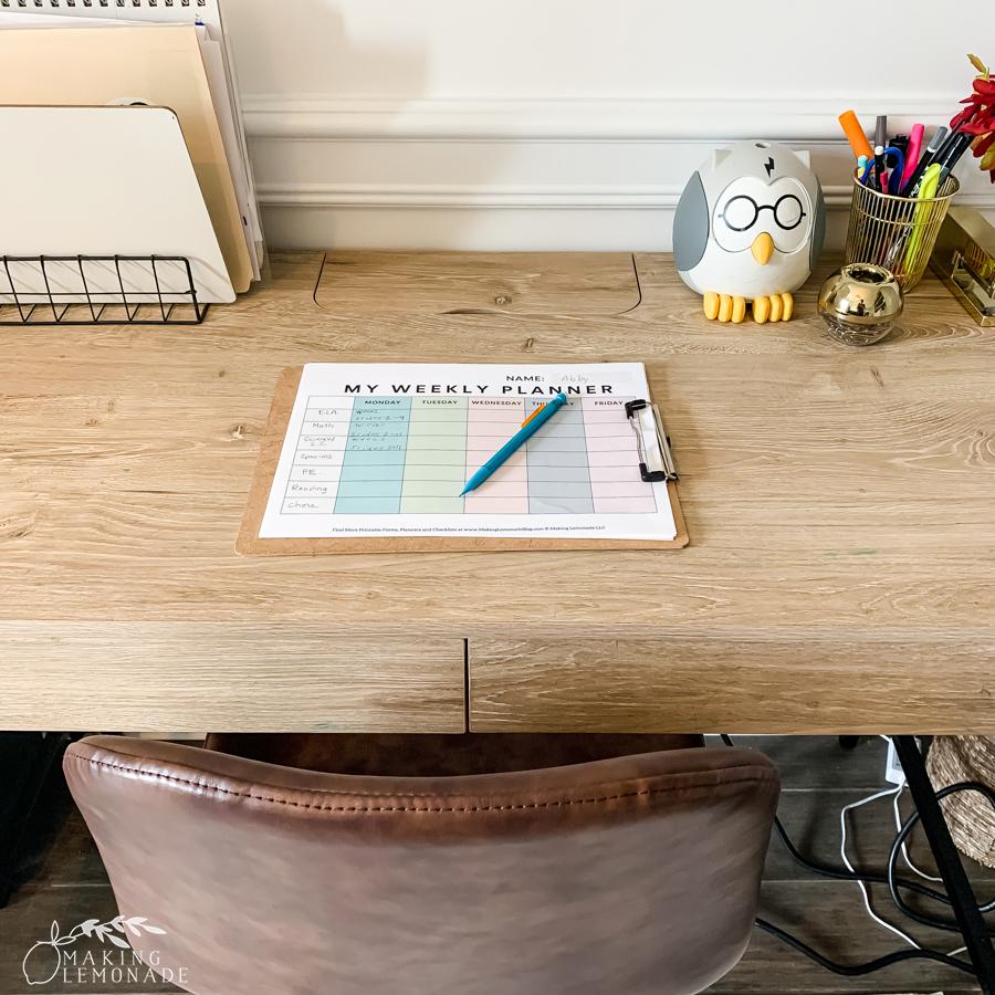 student planner on desk