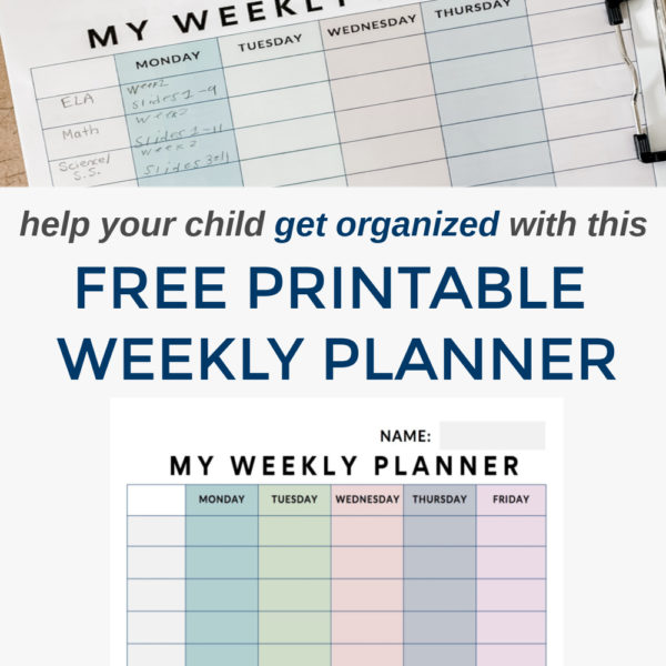 free weekly student planner pin