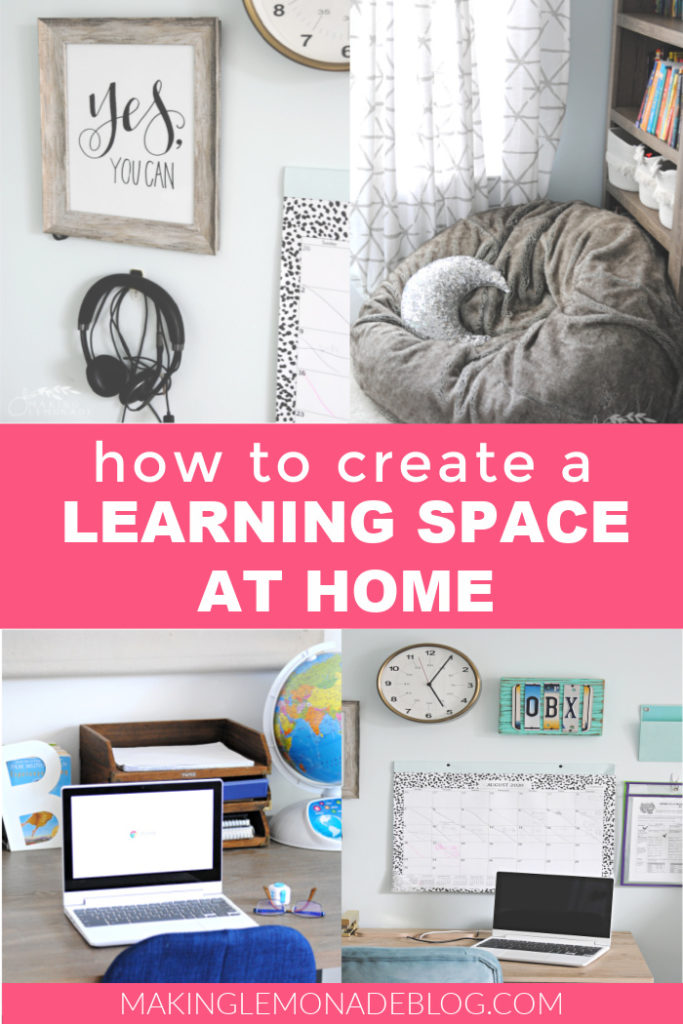 how to set up a home learning space pin