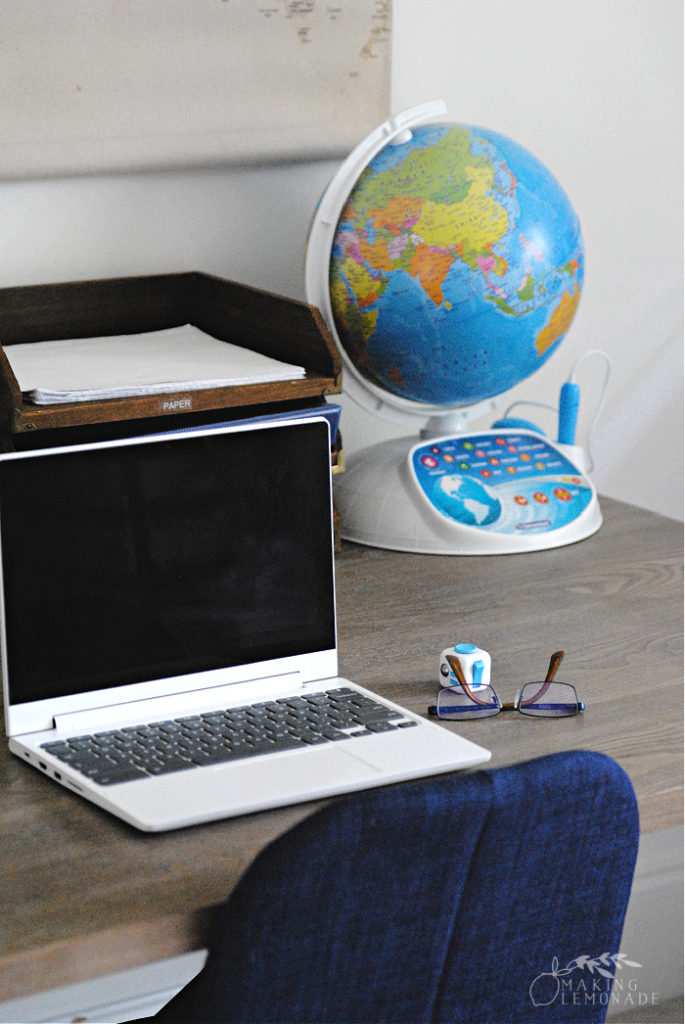 computer on table for home learning