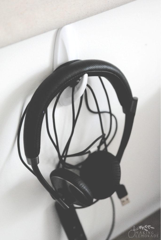 headphones on hook
