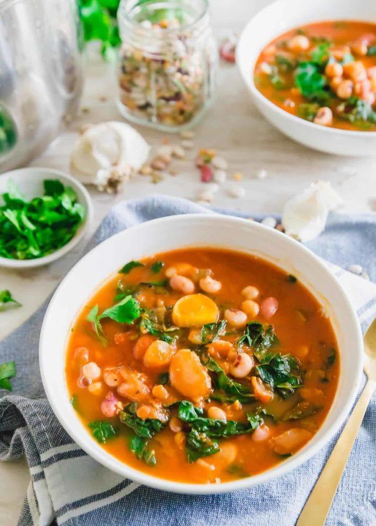 instant pot bean soup in a bowl
