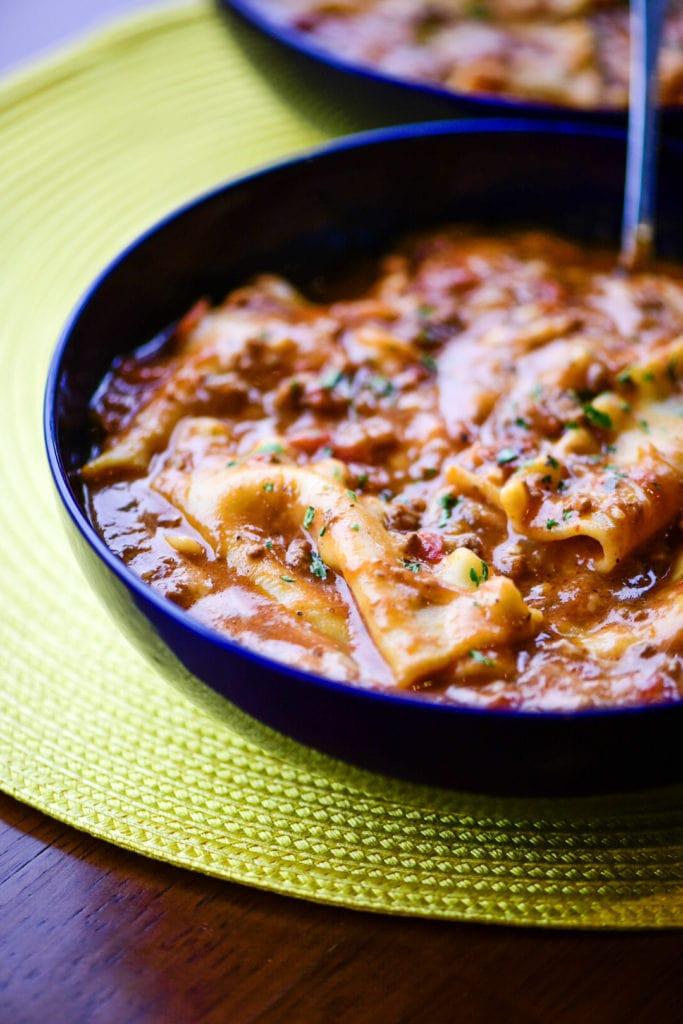 instant pot  truffled lasagna soup