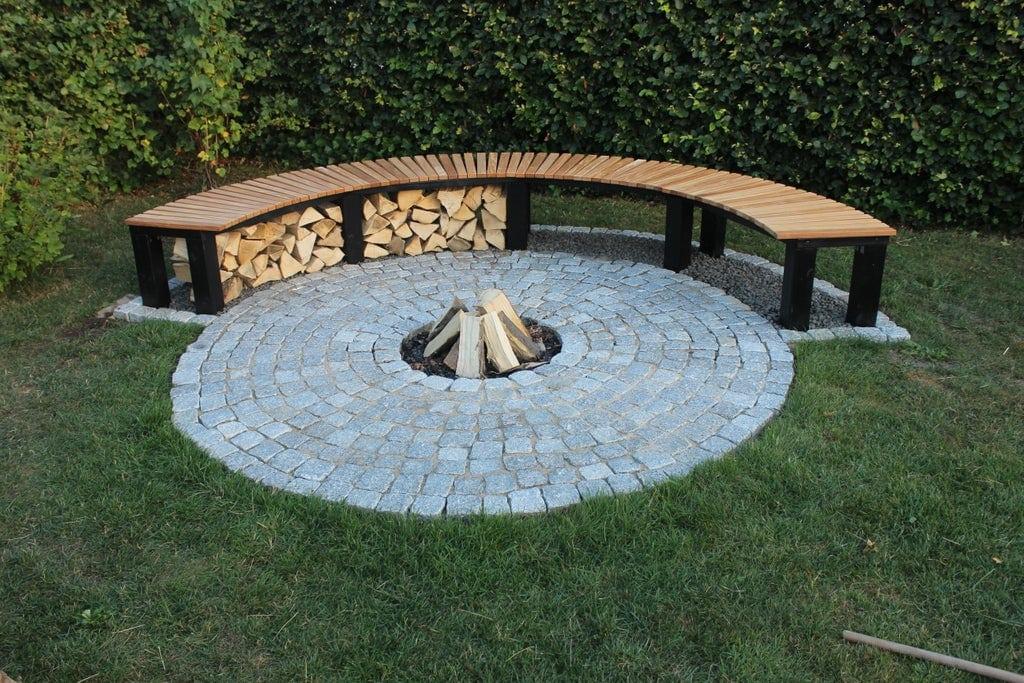 garden fire pit with round bench