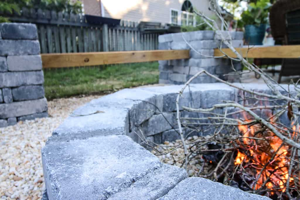 DIY hardscape benches and fire pit