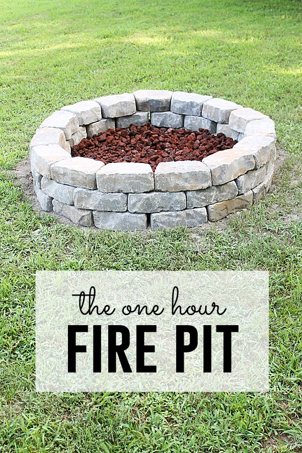 one hour fire pit with stone edging
