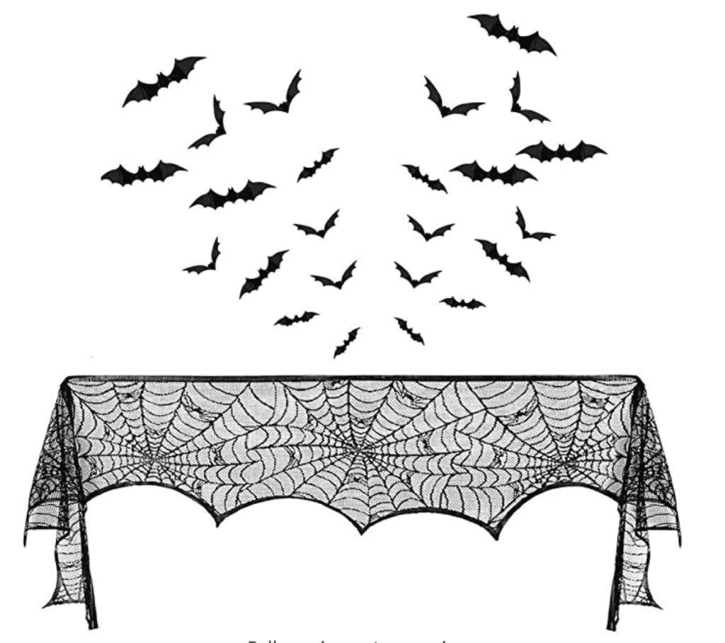 Halloween spider web mantel scarf
