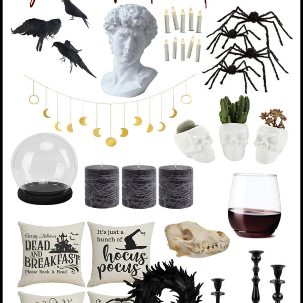 spooky halloween decorations collage