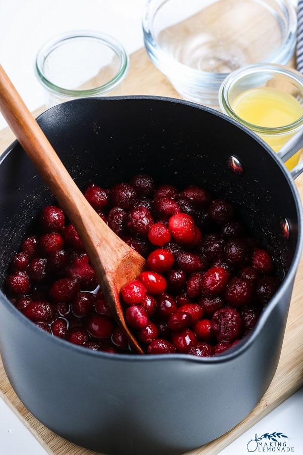 cranberries in saucepan