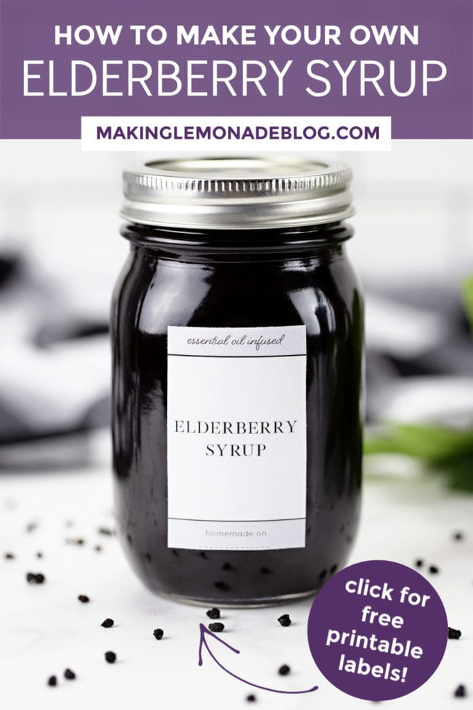 jar of homemade elderberry syrup with free printable label