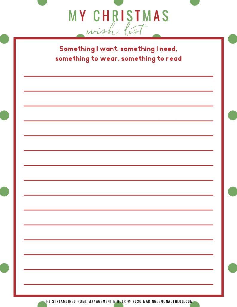 printable My Christmas Wish List for kids