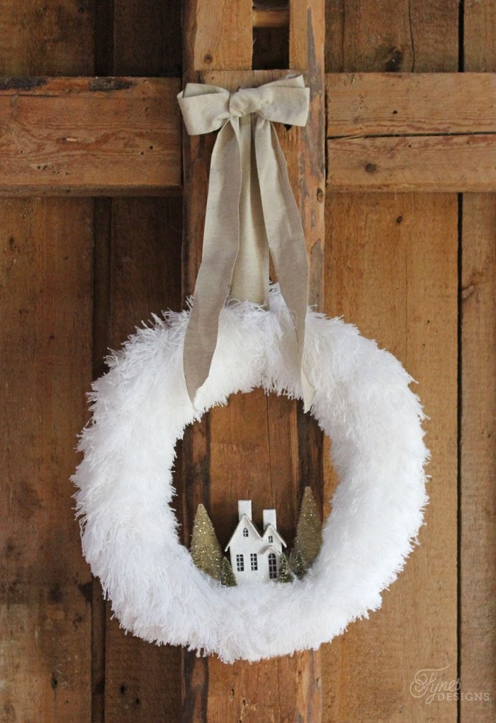 white feather wreath