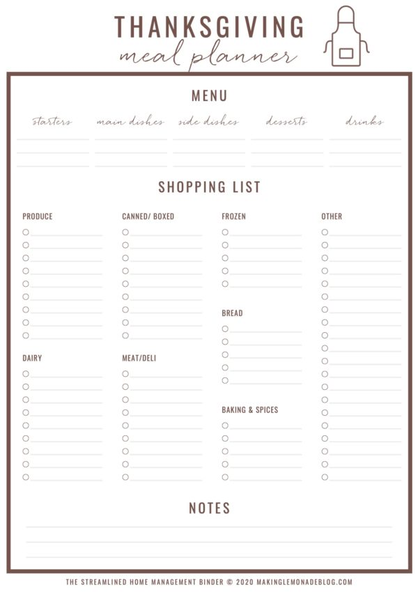 Free Printable Thanksgiving Menu Planner & Checklist