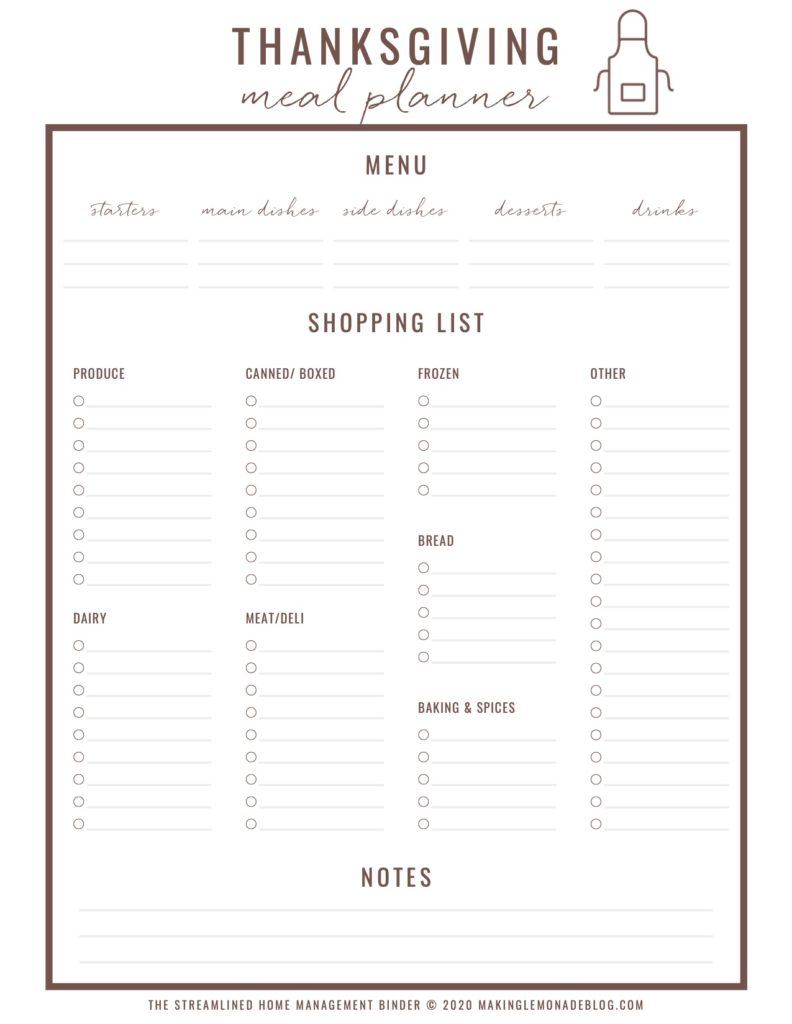 free printable Thanksgiving meal planner