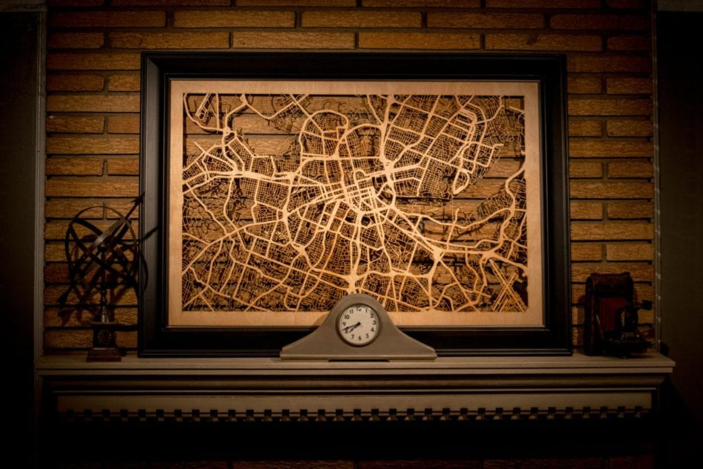 carved wood map