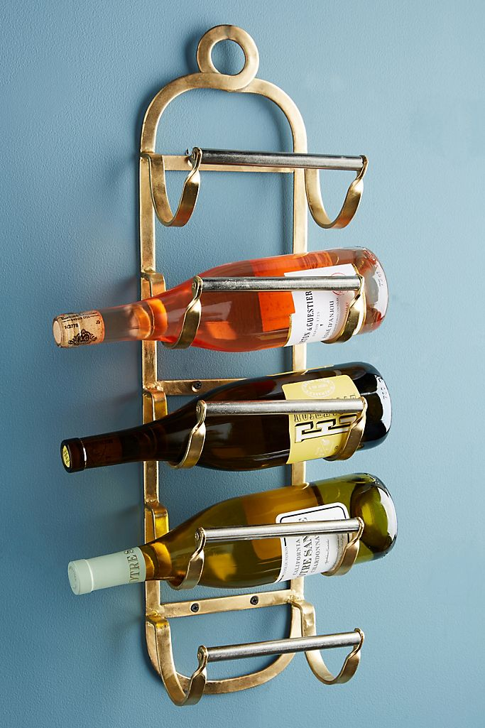 gold wall mounted wine rack