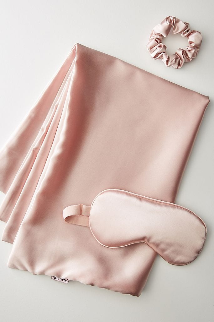 silk sleep set in pink