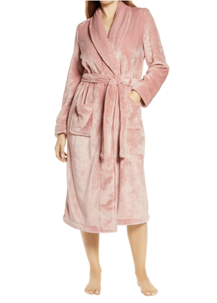 woman in pink bathrobe