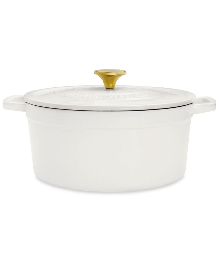 white enamel cast iron dutch oven