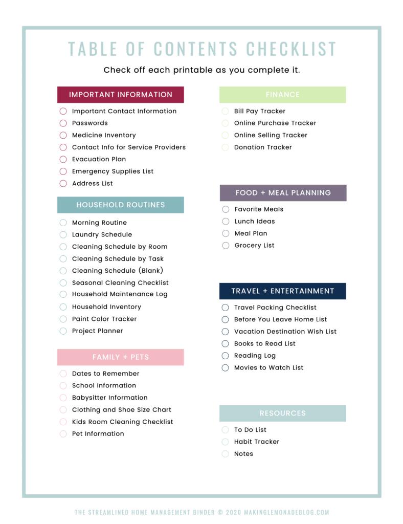 printable home binder checklist