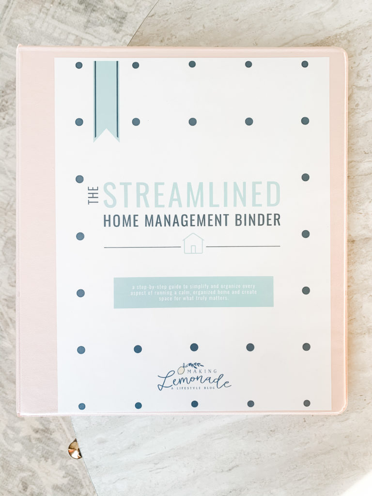 streamlined home binder on table