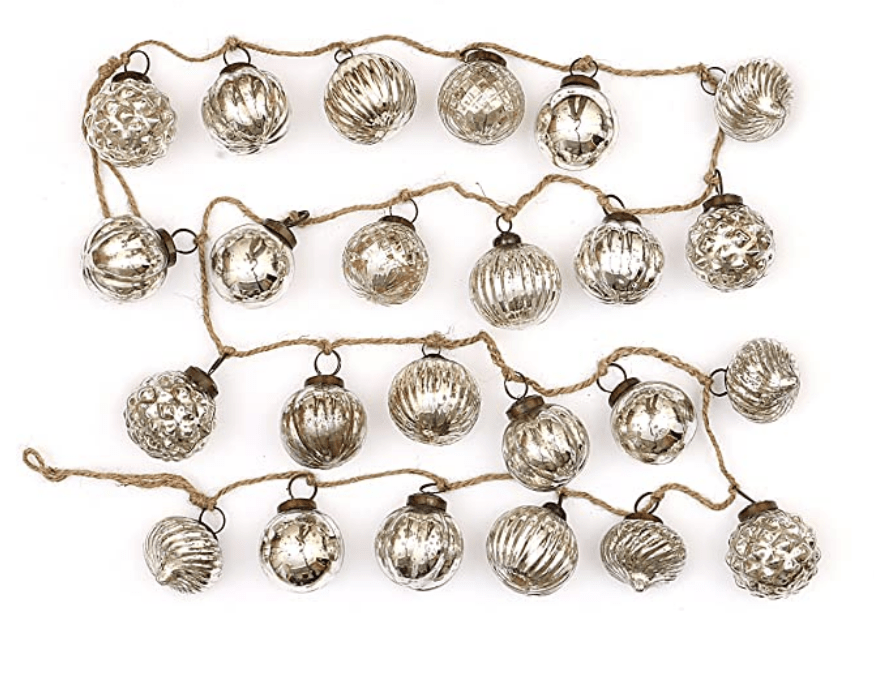 vintage ornament garland in silver