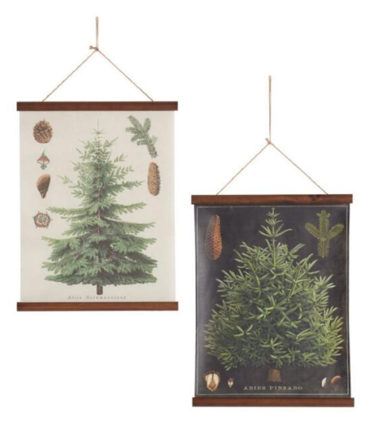 two christmas tree wall hangings