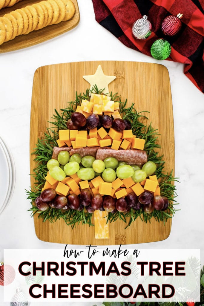 christmas tree shaped cheese and meat board