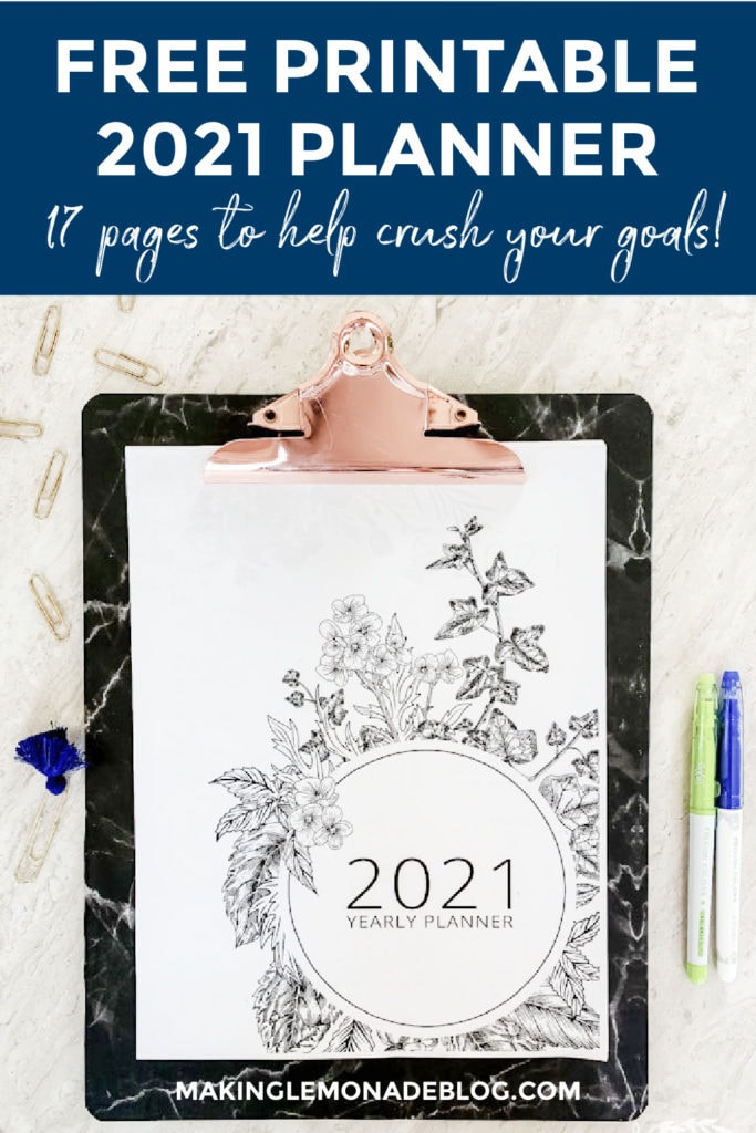 free printable 2021 planner on table with paperclips