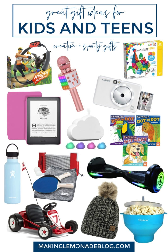 collage of gift ideas for kids