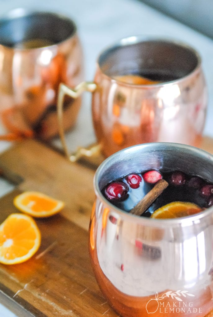 Yule Mule cocktails in copper mugs