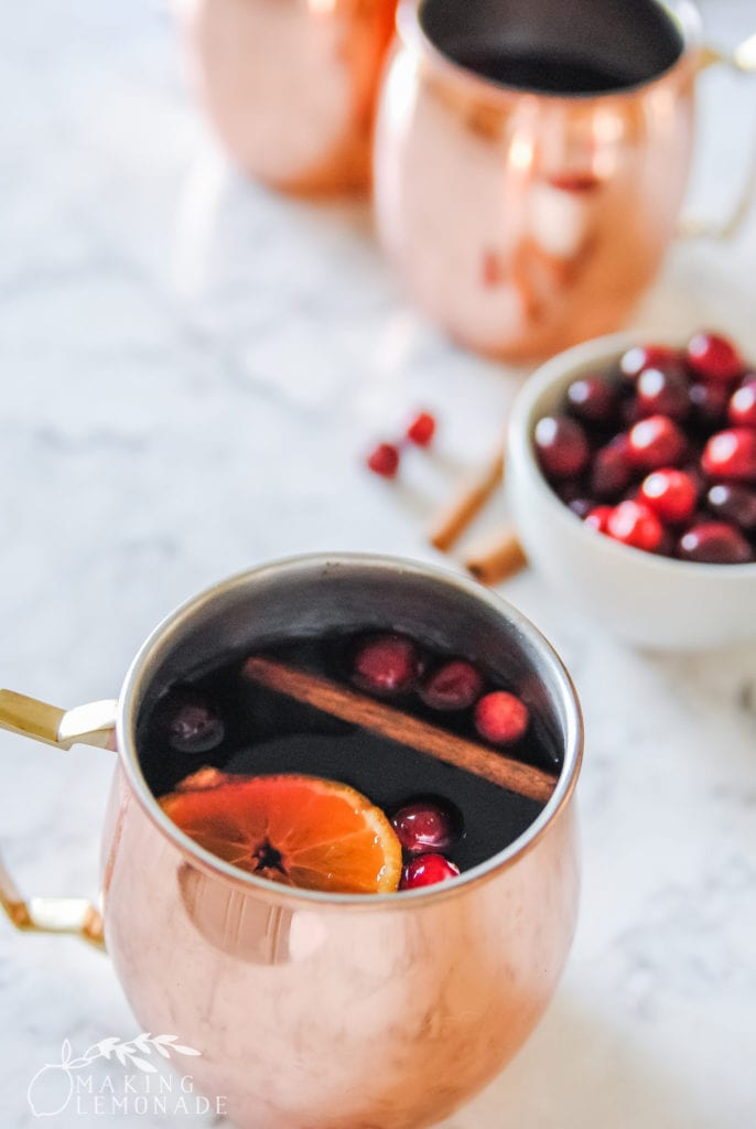Yule Mule Christmas cocktail in copper mugs