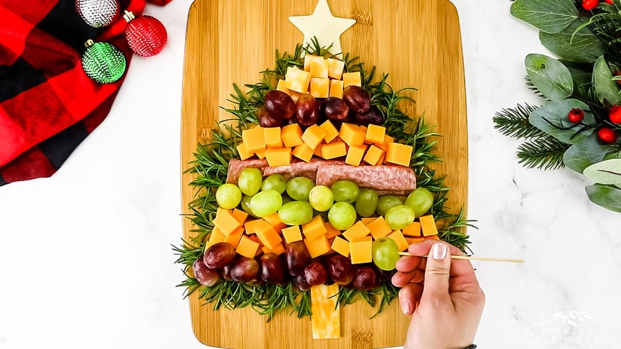 christmas tree shaped meat and cheese board