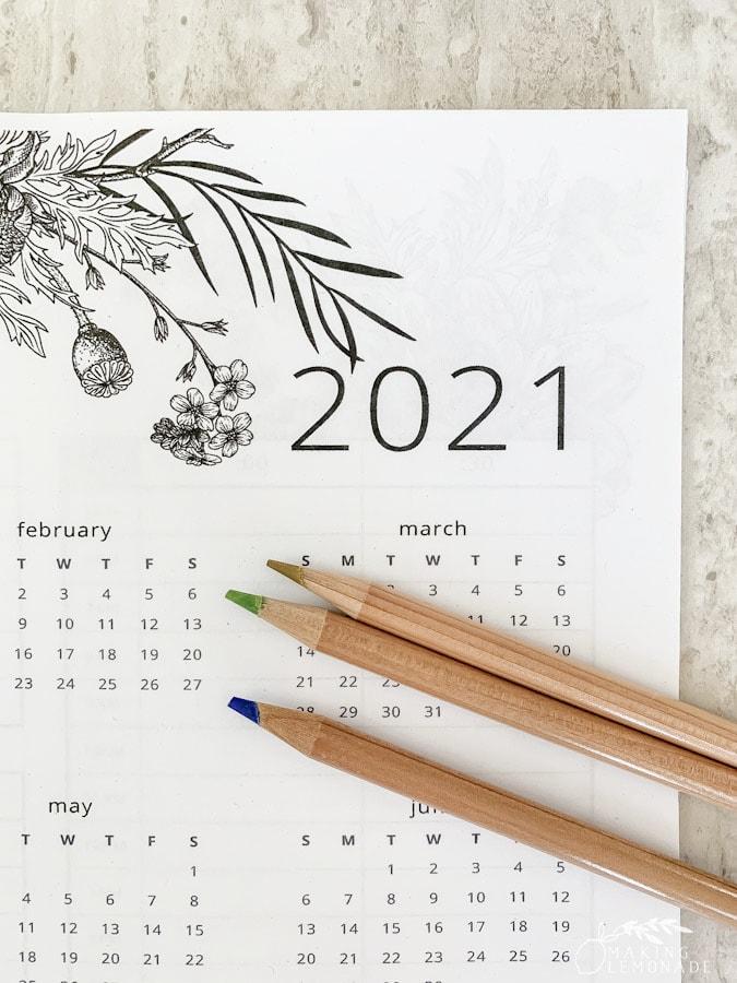 2021 calendar with pencils