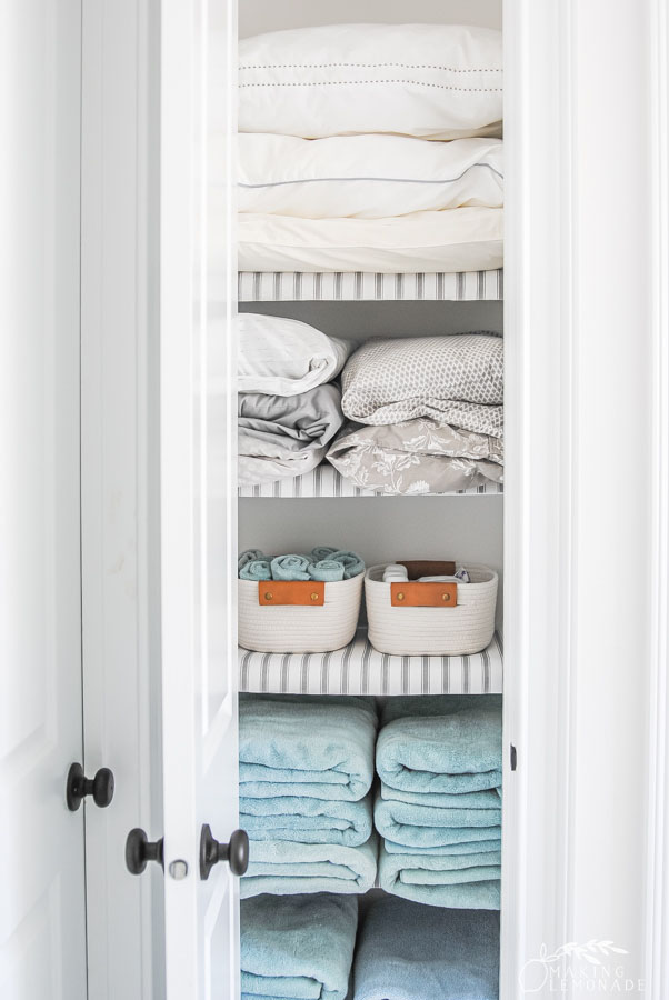 sheets and towels in the closet