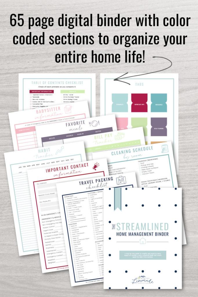 home management binder contents