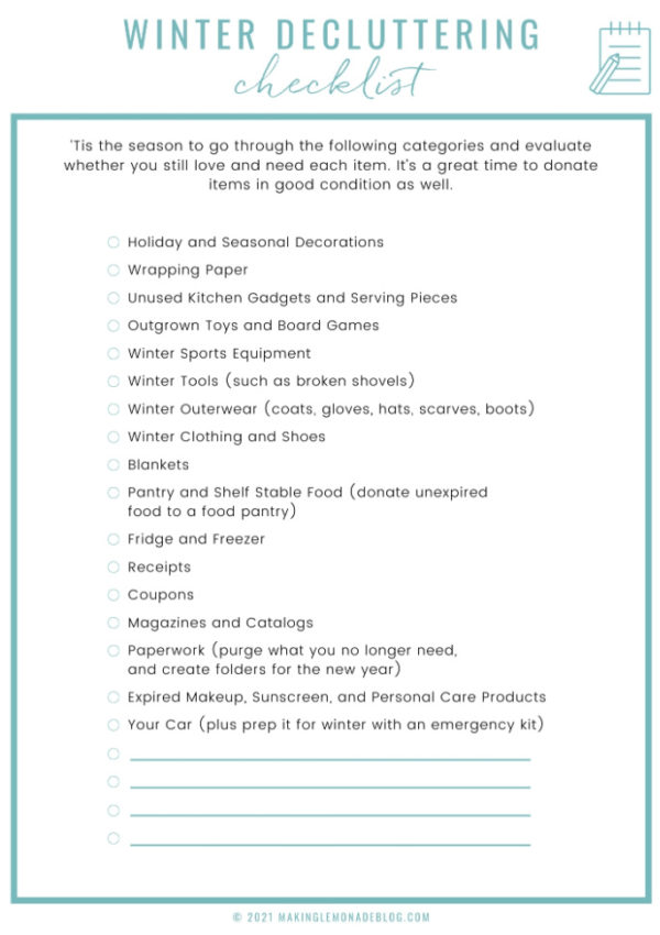 Free Printable Winter Decluttering Checklist
