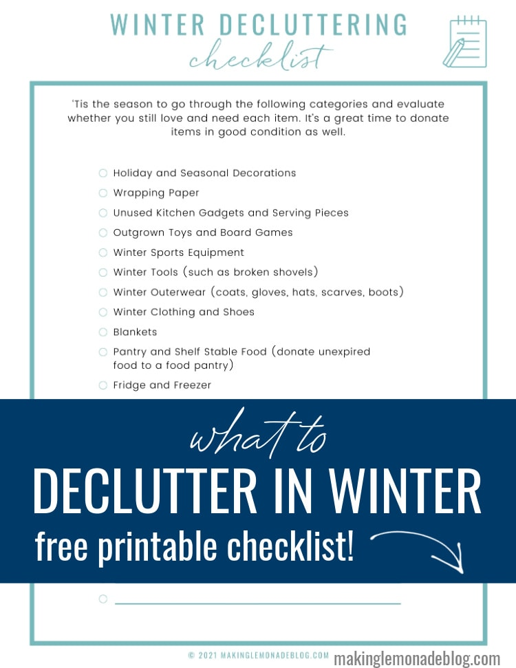 free printable decluttering checklist for winter with text