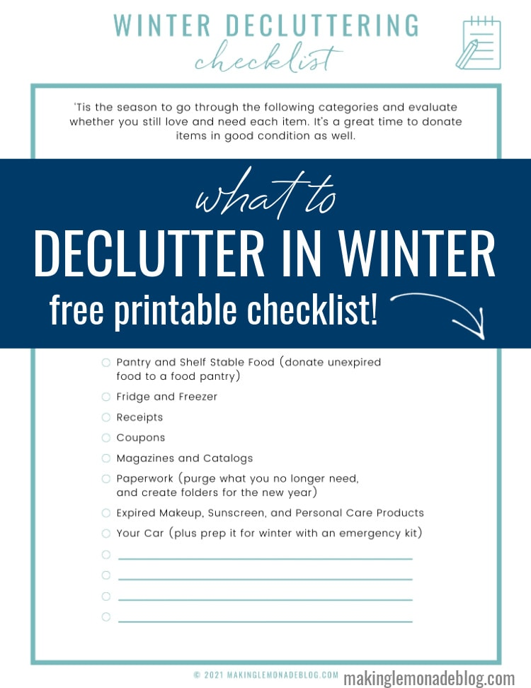 what to declutter in winter free printable checklist