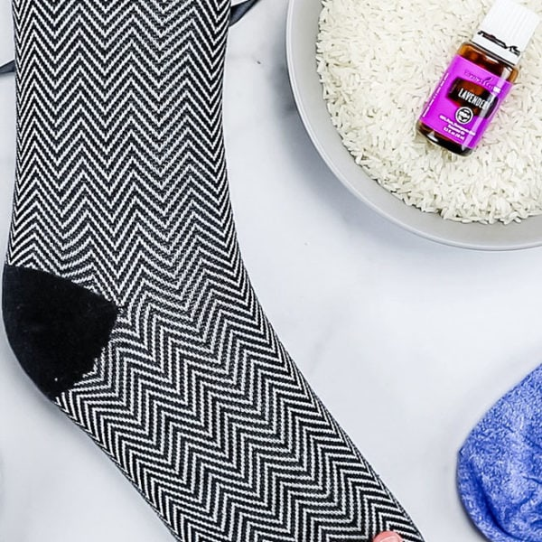 DIY rice socks with essential oil