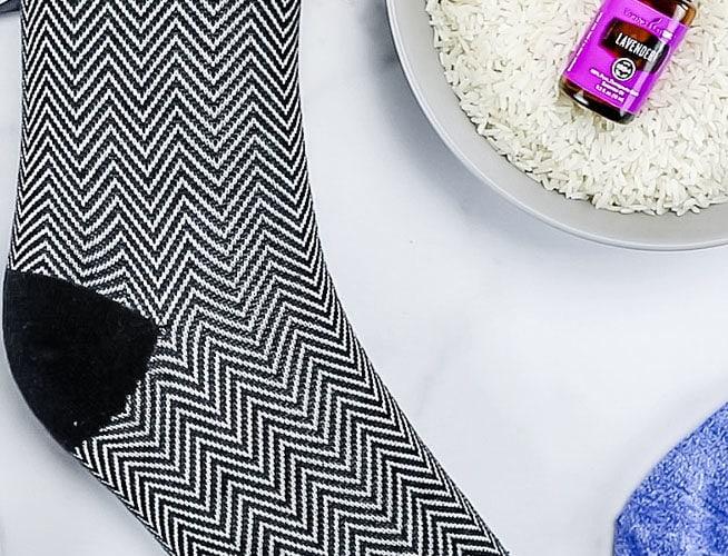 DIY rice socks with essential oil