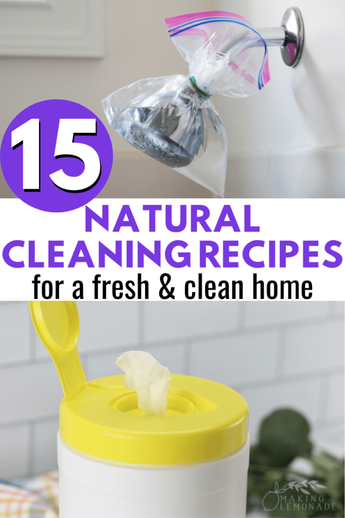 collage of cleaning recipes