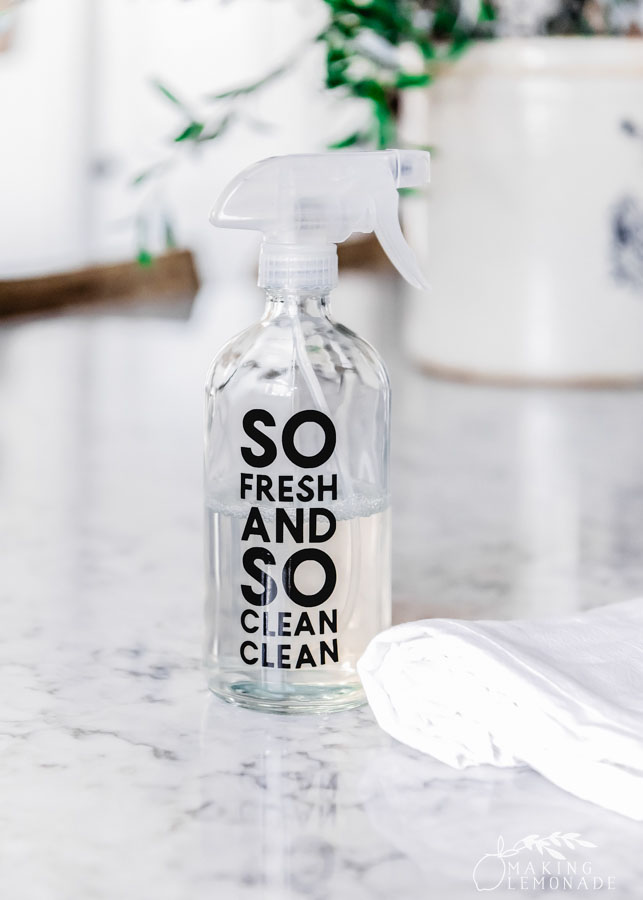 glass spray bottle with cleaning solution