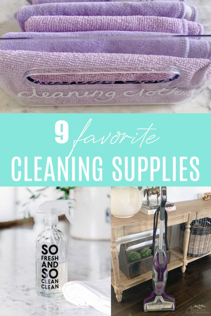 spring cleaning supplies collage
