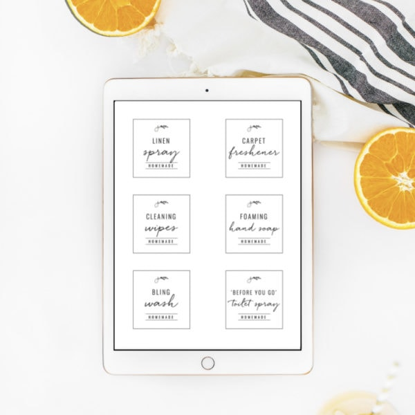 homemade cleaning labels with citrus