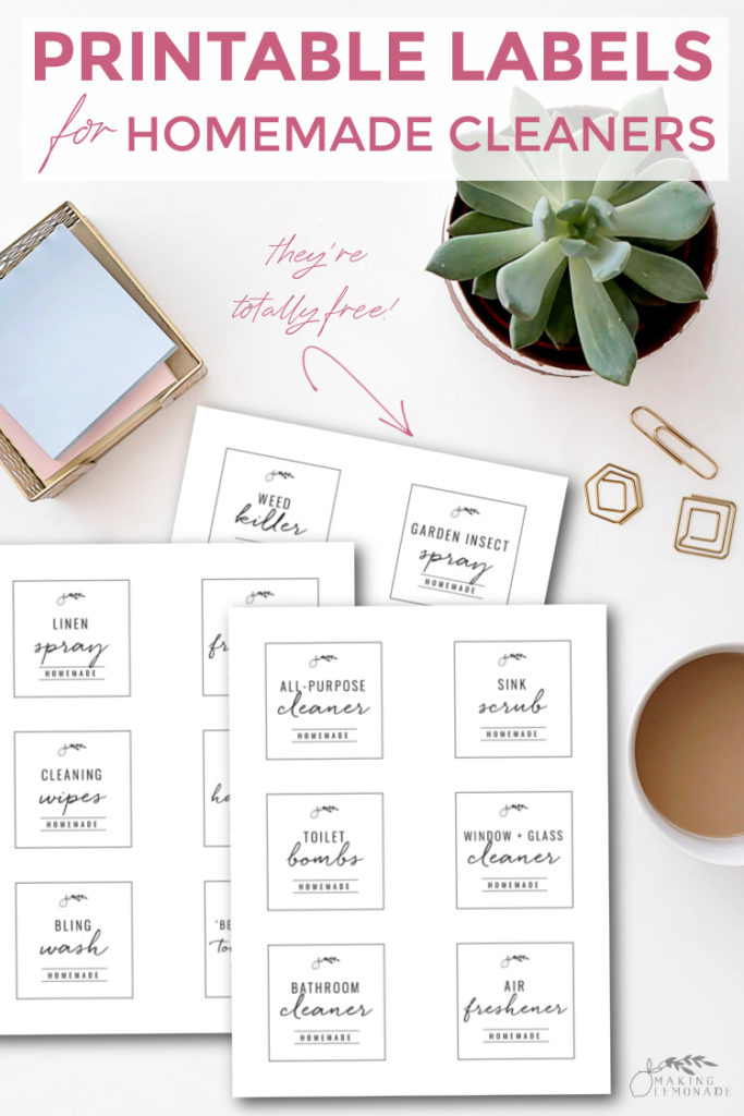free printable cleaning labels on table