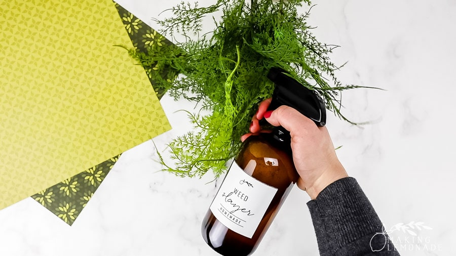 homemade weed killer spray with free printable cleaning label