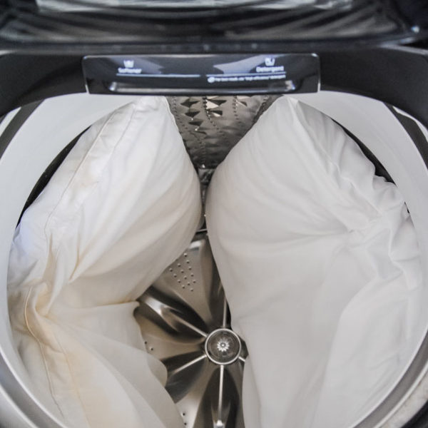 two pillows in a washing machine