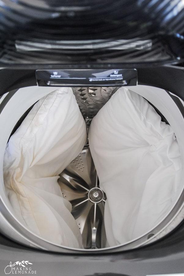 two pillows in washing machine